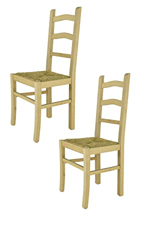 bar and dining room with strong structure in polished beechwood 100/% natural and seat in straw Set of 2 classic chairs SILVANA suitable for kitchen Tommychairs chairs of design not treated