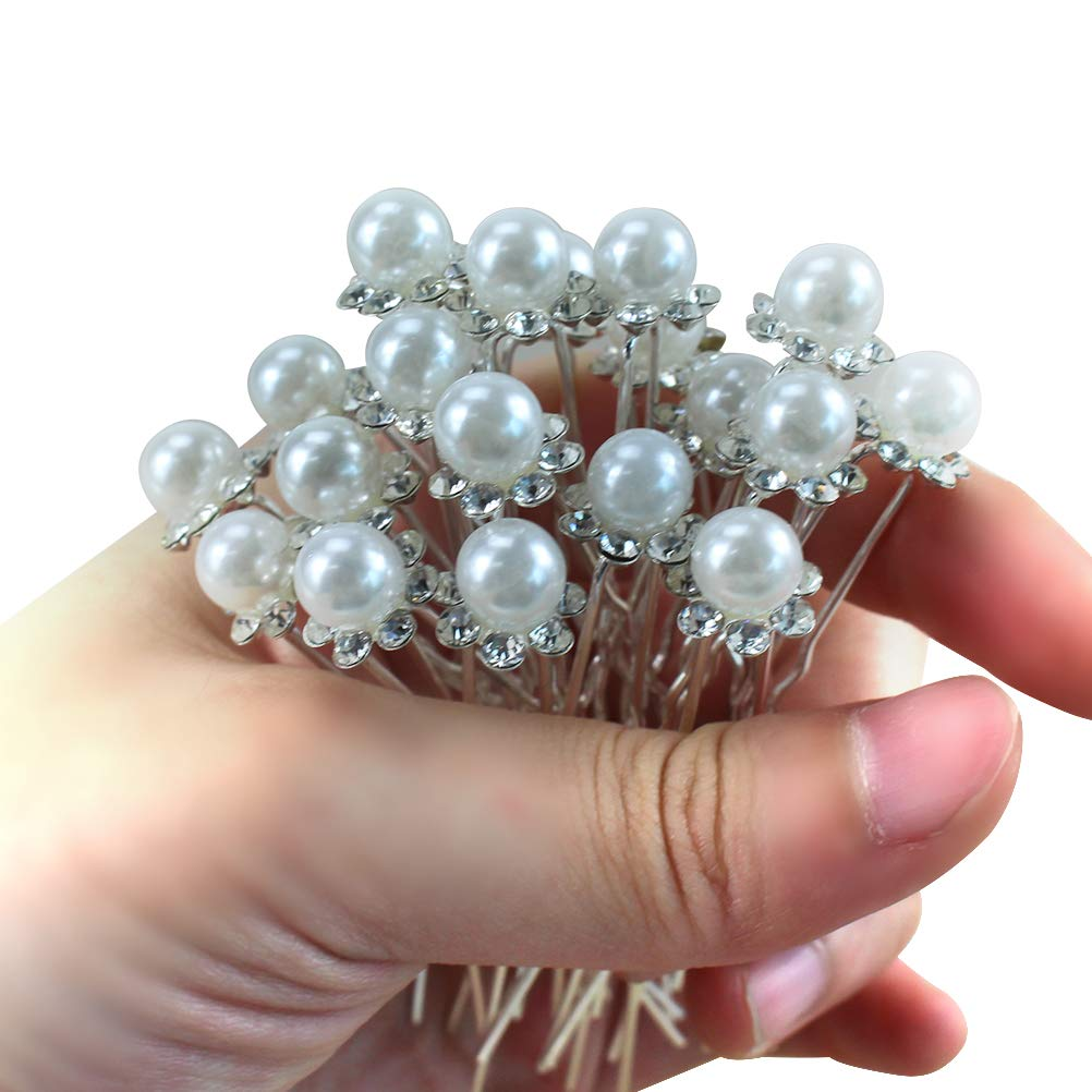 20pcs Women Wedding Bridal Pearl Clips Flower Crystal Rhinestones Hair Pins Hair Clips Bridesmaid Sliver with 1 Vintage Faux pearl U shape Headpiece Clip Gift for Prom Dance Party Chengyuan