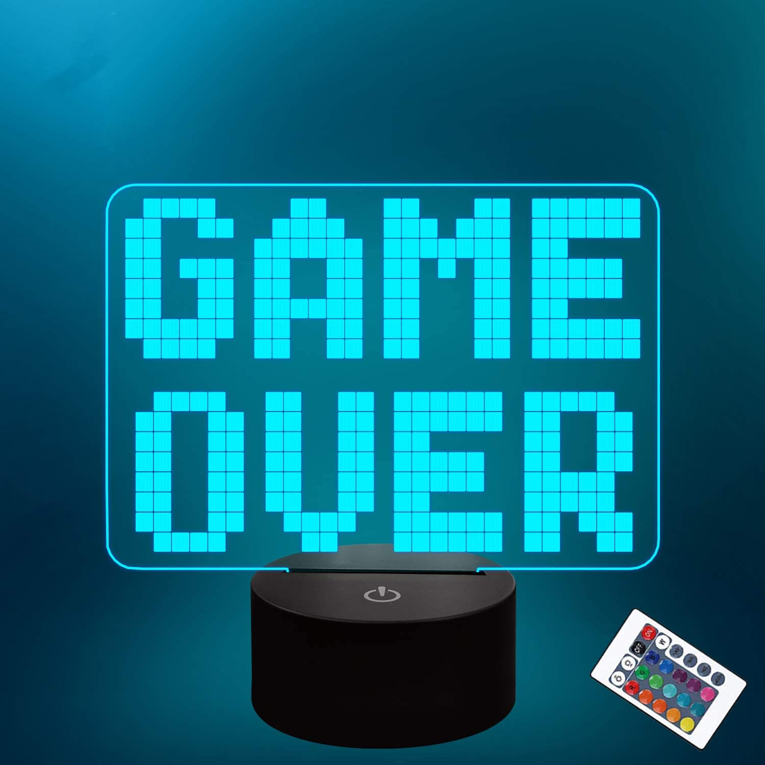 Lampeez Pixel Game Over LED Lamp Night Light 3D Illusion lamp for Kids, 16 Colors Changing with Remote, Kids Bedroom Game Room Decor as Xmas Holiday Birthday Gifts for Boys Girls
