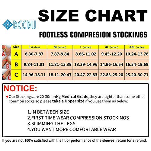 d386b0615223ff Amazon.com: DCCDU Medical Thigh High Footless Compression Stockings with  Silicone Band Firm Support 20-30 mmHg,Gradient Thigh High Footless  Compression ...