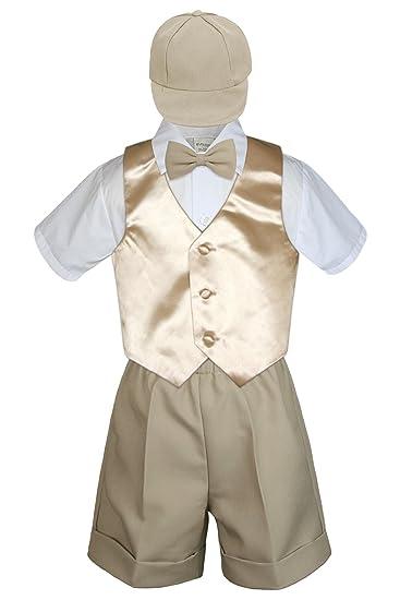 0eb893cd8f1a Amazon.com  5pc Formal Baby Toddler Boys Champagne Vest Khaki Shorts ...