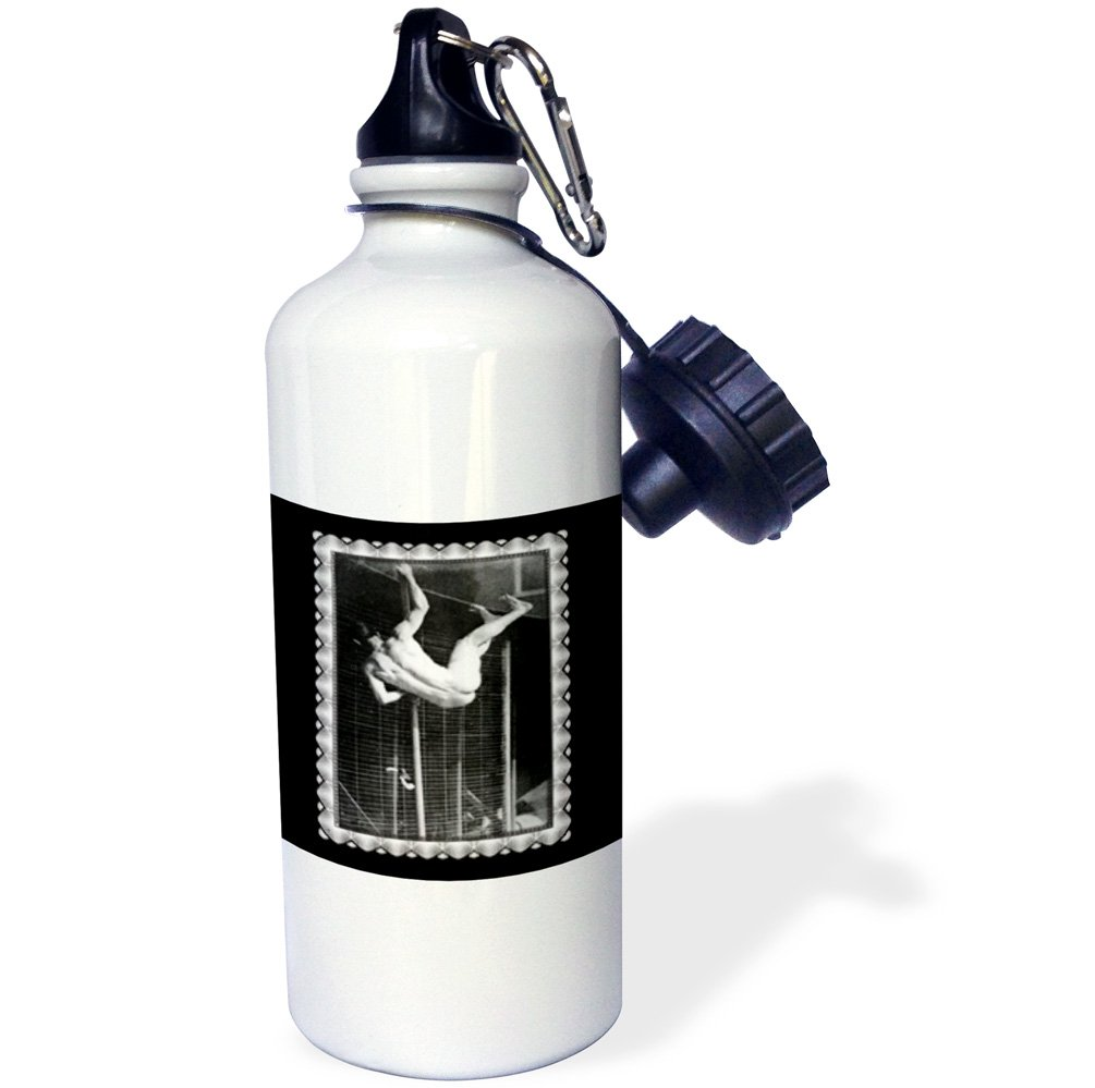 21 oz White 1885 taken by Eadweard Muybridge Sports Water Bottle 3dRose wb/_160800/_1Pole Vaulter Vaulting over a Fence in the Nude