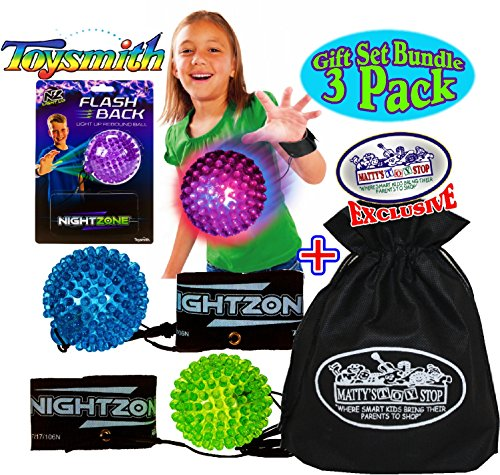 Toysmith NightZone Flash Back Light-Up Rebound Balls Blue, Green & Purple Complete Gift Set Party Bundle with Exclusive Mattys Toy Stop Storage Bag - 3 Pack