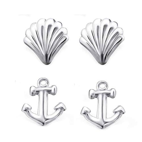 62efc9d53d69 FIVE-D 2 Paar Ohrringe Set Ohrringe Muschel und Anker 925 Silber in  Geschenkbox  Amazon.de  Schmuck