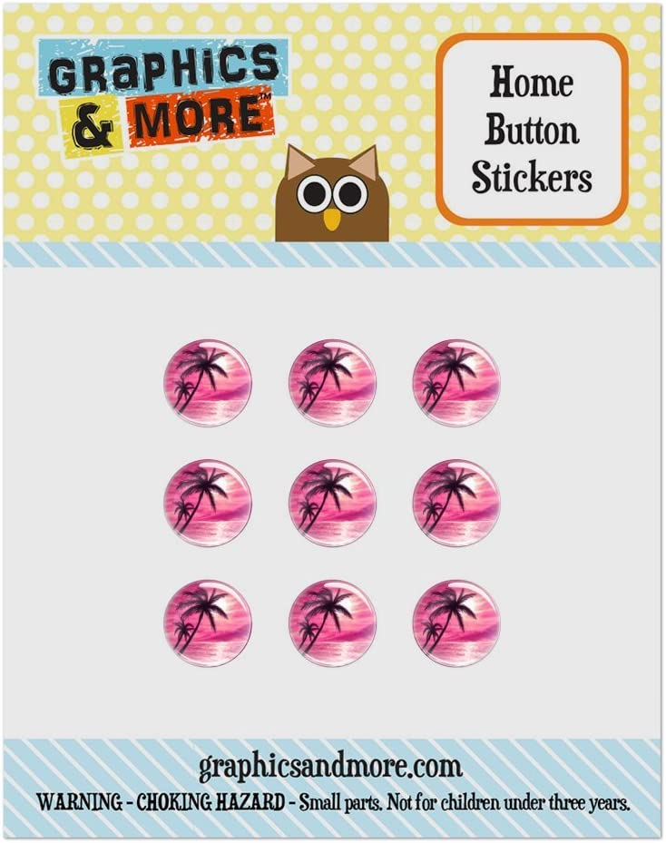 Set of 9 Puffy Bubble Home Button Stickers Fit Apple iPod Touch, iPad Air Mini, iPhone 4/4s 5/5c/5s 6/6s Plus - Beach Tropical - Sunset Pink Palm Tree Hawaii Paradise