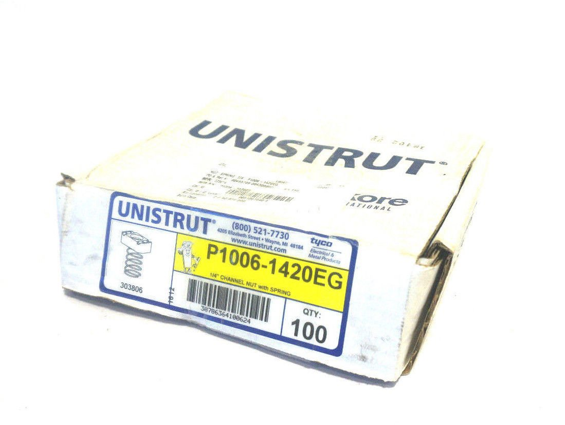 1//4-20 Unistrut Channel Nuts with spring Electro-Galvanized 100//BX Use with channel P1000 P2000 P1100 P3000