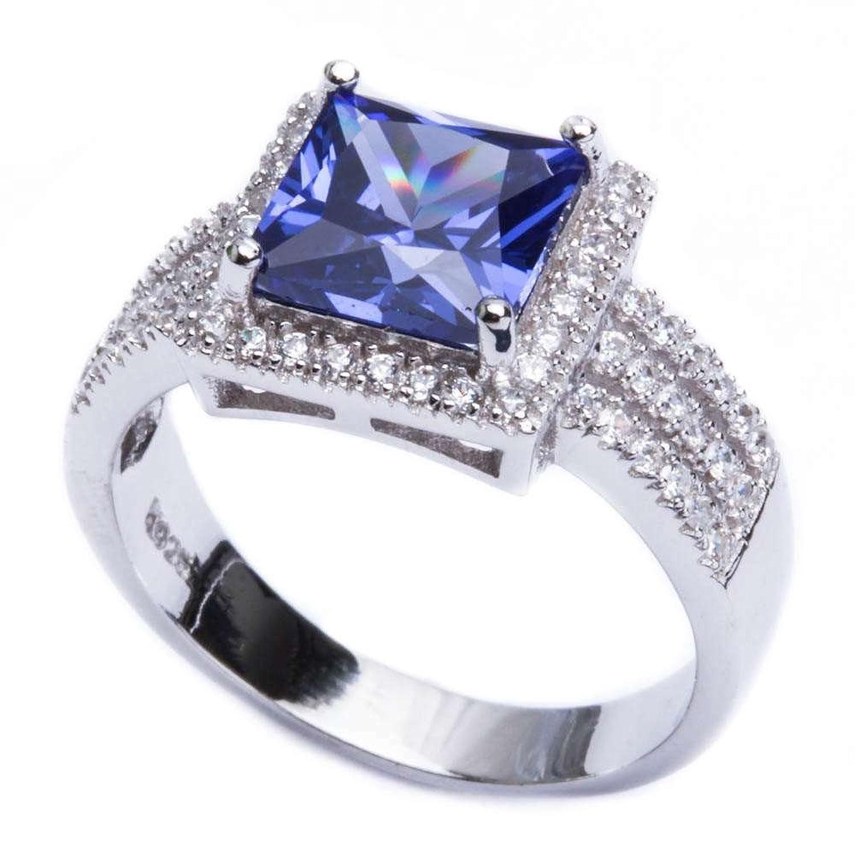 .925 Sterling Silver 5.50ct Princess Cut Simulated Tanzanite & Cz Ring Sizes 6-9