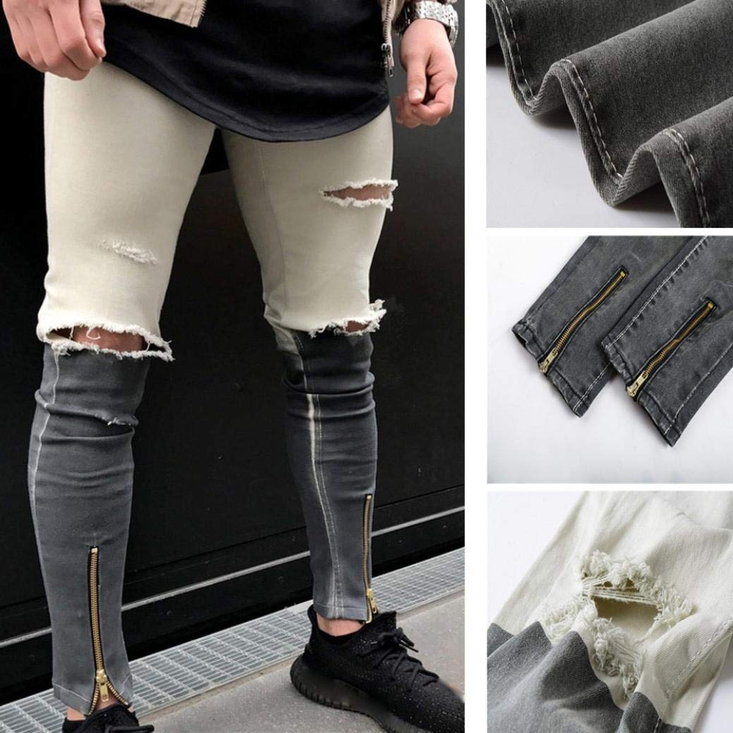 Clearance Sale Mens Slim Ripped Fit Fashion Vintage Contrast Cotton Denim Jeans Hiphop Streetwear Pants at Amazon Mens Clothing store:
