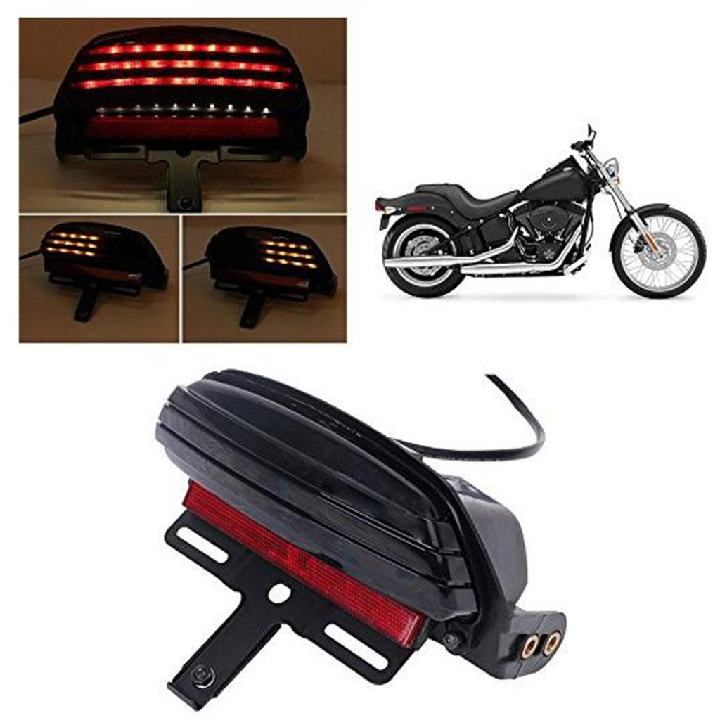 Baoblaze Motorcycle Tri-Bar LED Turn Signal Tail Lights License Plate Bracket for Harley Softail