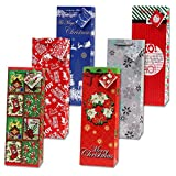 Arts & Crafts : 12 Christmas Wine Gift Bags with Handle and Tags for Holiday Wine Bottle Bag Decorations for Home Table Party
