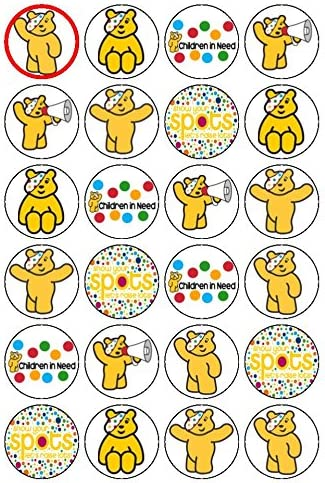 24 PRECUT SUPPORT CHILDREN IN NEED PUDSEY BEAR RICE//WAFER PAPER CUP CAKE TOPPERS