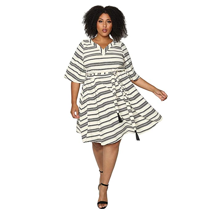 Astra Signature Plus Size Striped Dress for Women,Short Sleeve V Neck  Empire Waist Belted Casual Summer Mini Dress