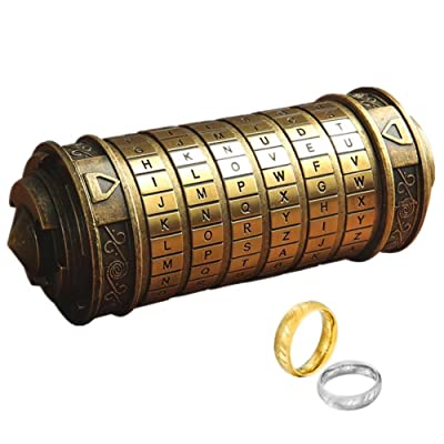 Da Vinci Code Mini Cryptex With Two Rings For Valentine's Day Interesting Games Birthday Cool Ideas Creative Romantic Gifts For Him Her Men Women Boys Girlfriend Brain Teaser Lock Puzzles(Coppery): Juguetes y juegos
