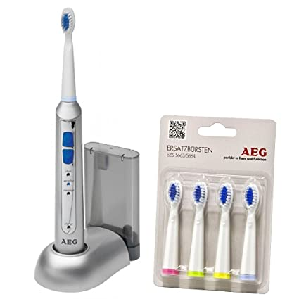 Cepillo de dientes eléctrico de la batería de Sonic con el paquete de 4 Ersatzzahnbürsten AEG