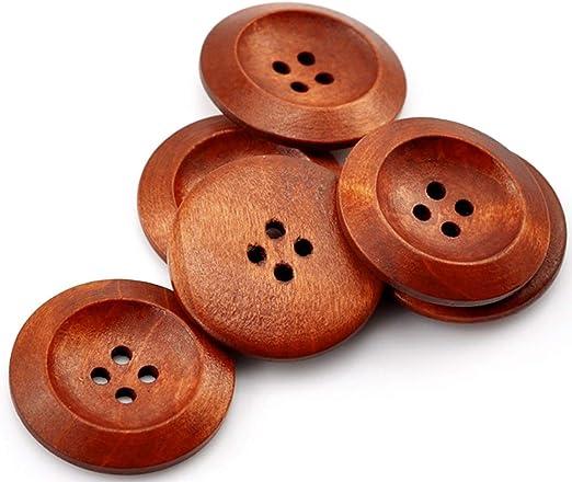 50x Kinderknöpfe Holzknöpfe 2 Löcher Holz Knopf Bastelknöpfe für Kleidung