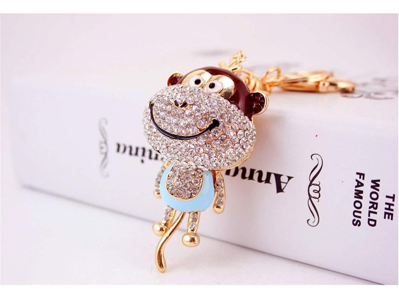 Car Keychain, Cute Diamond Long Tail Monkey Keychain Animal Shape Key Trinket Car Bag Key Holder Decorations(Blue) for Gift