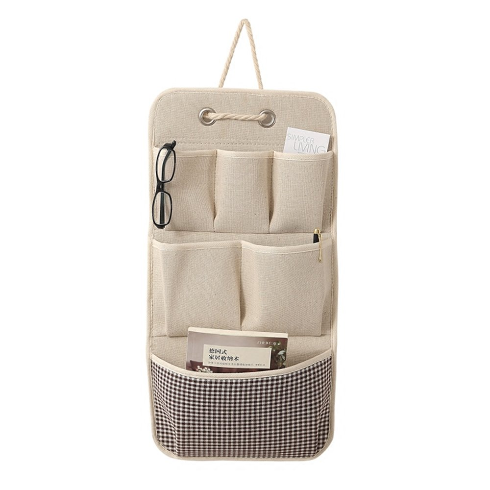 KINGSUNG Hanging Storage Bag Cotton Linen Wall Door Closet Storage Organizer with 6 Pockets(Color Random)