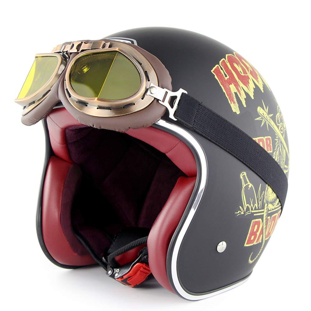 YLee Casco Retro Motocicleta Harley Retro Cara Abierta 3/4 Dot ...