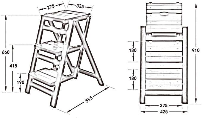 ZENGAI Taburete De Escalera Madera Maciza Alta Dureza Antideslizante Durable Tres Tramos De Escaleras De Taburete Plegable, 2 Colores (Color : A, Tamaño : 325x555x660mm): Amazon.es: Hogar