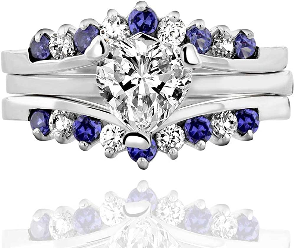 Janjewelry His and Hers Silver 925 Heart 2.6CT Blue Cubic Zirconia Men Channel Matching RingSet SZ 5-13