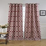 MYSKY HOME Lined Jacquard Room Darkening Grommet top Curtain Panel, 52 by 84 inch, Red (1 Panel) Review