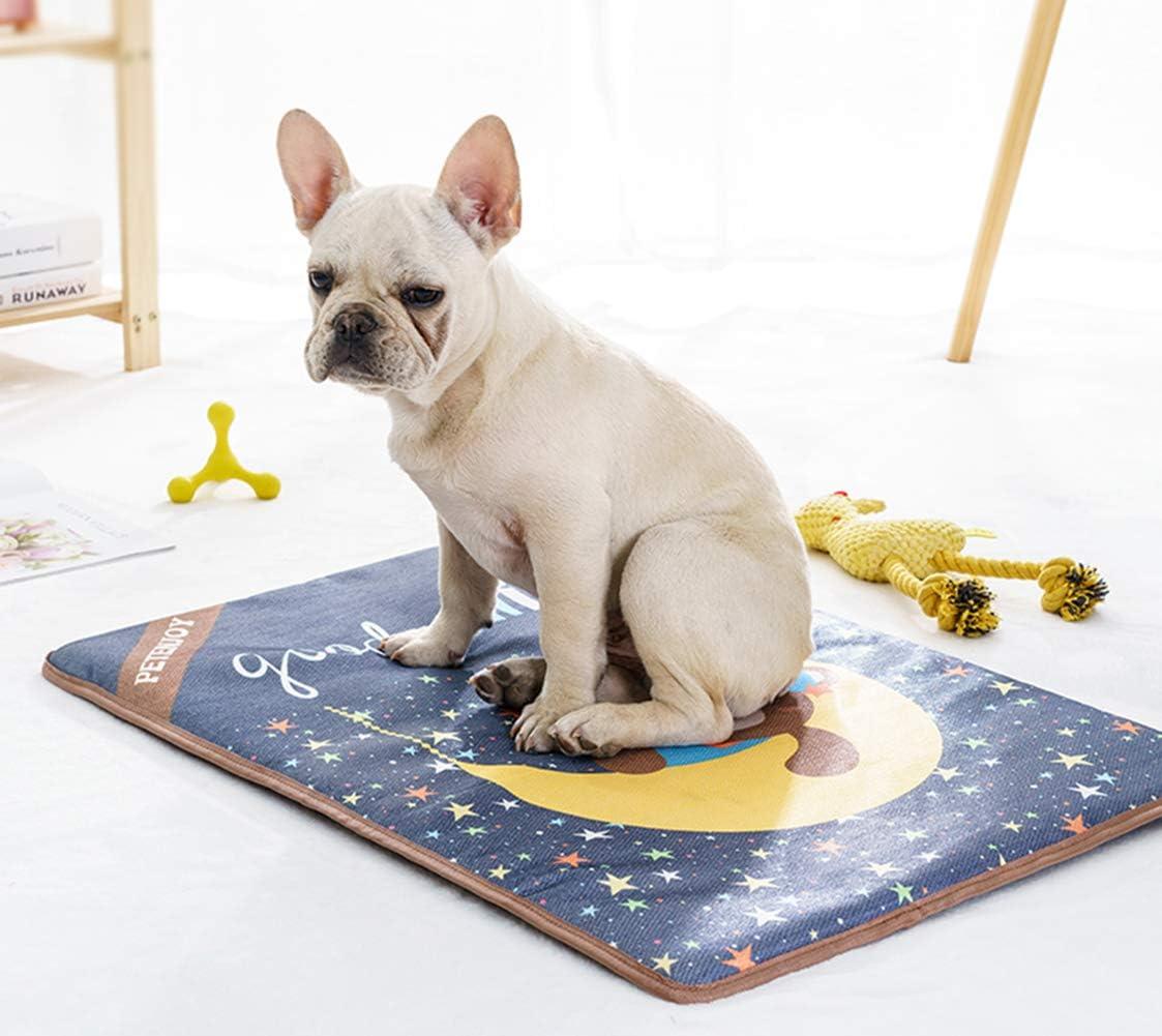 YMAXGO Bulldog Non-Slip Self-Cooling Mat Pet Chill Pad,Breathable Ice Silk Fabric Bed