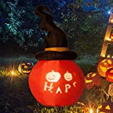 5.5 Twisted Witch Hat Pumpkin LED Lighted Outdoor Airblown Inflatable Yard Decoration w/ Scrolling Happy Halloween Message