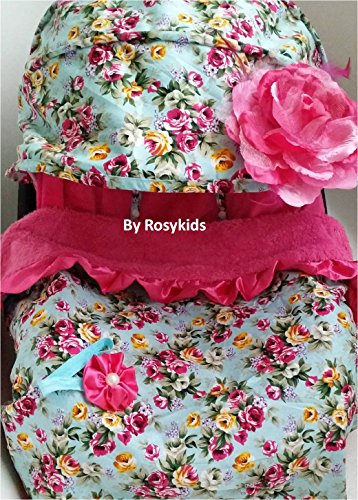 (Infant Carseat Canopy Cover 3 Pc Whole Caboodle Baby Car Seat Cover Kit Floral Print C010101)