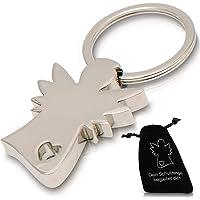 Edler Schutzengel Schlüsselanhänger im Samtbeutel - Engel Herz Anhänger silbern fürs Auto und als Geschenk für Frauen und Männer - Glücksbringer
