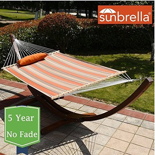 HomyDelight Sunbrella Fabric Hammock, Pillow and 12 Feet Wood Arc Stand,Backyard Combo Set, Passage Poppy,acrylic perfectly polyethylene heavy duty durable. 55 x 50 x 165 inches