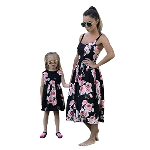 5023966c6ac9 Amazon.com: Rucan Mommy and Me Dresses Casual Floral Family Outfits Summer  Matching Maxi Dress: Clothing