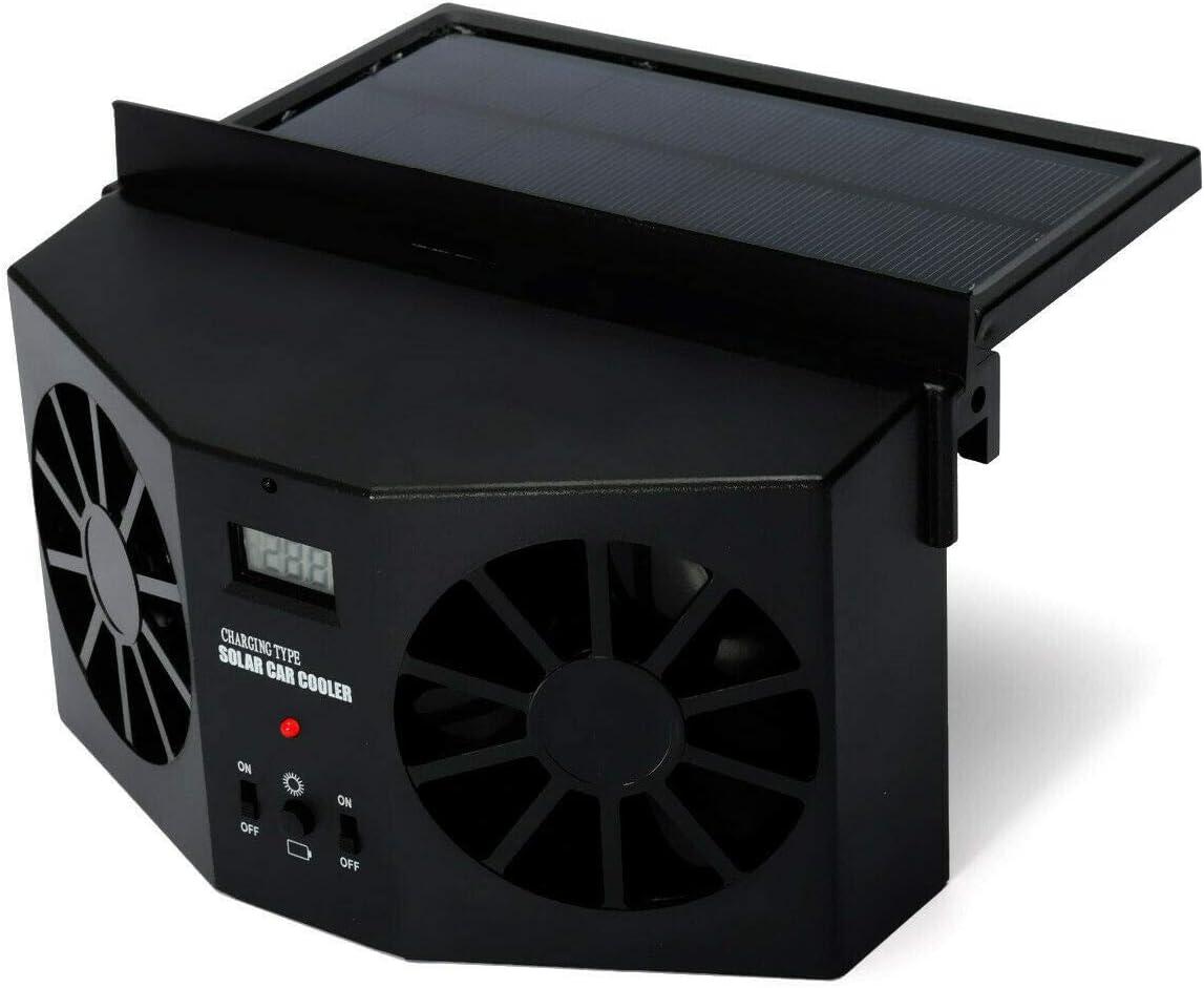 MASO Solar Powered Car Exhaust Fan, Car Radiator Fan, Energy Saving Air Vent Radiator Air Purifiers 2W ABS(Black)