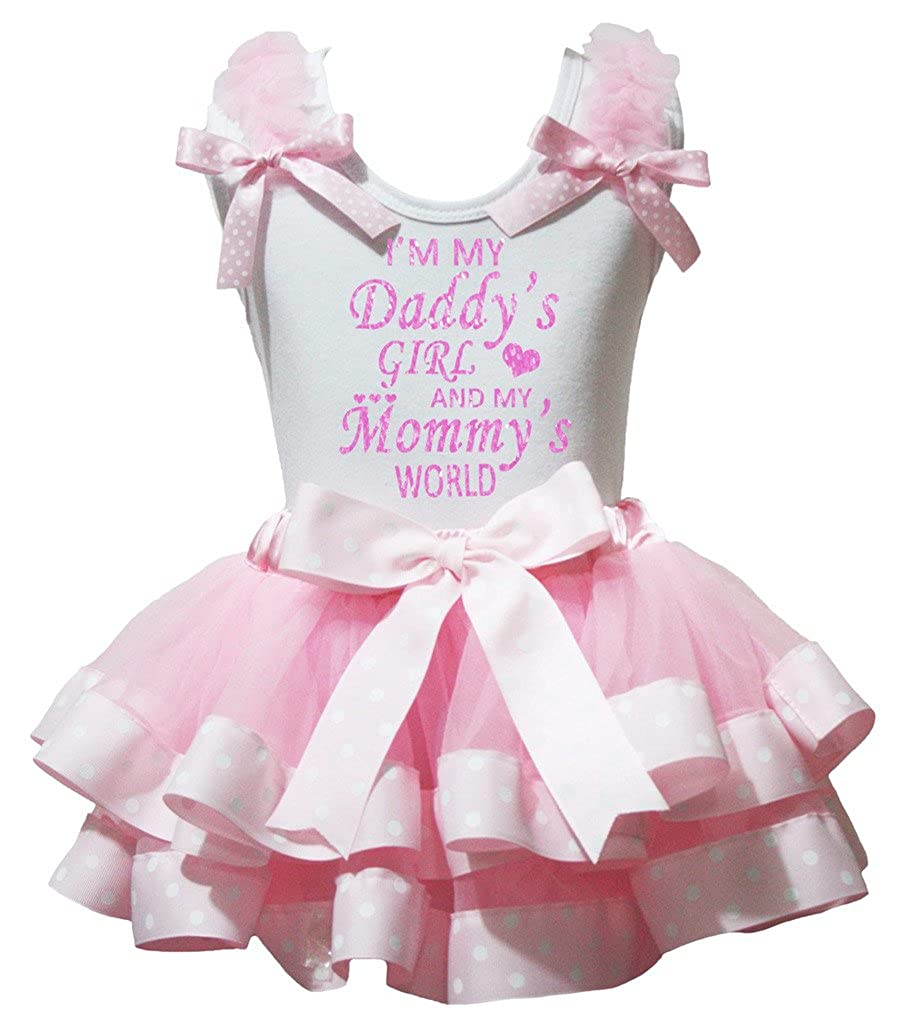 Petitebella Happy Im My Daddy Girl White Shirt Dots Pink Petal Skirt Set Nb-8y