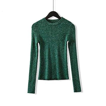 AFJLD Pullover Otoño Invierno Pullover Mujer Manga Larga Pullover Mujer Sudaderas Básicas Mujer, Verde,