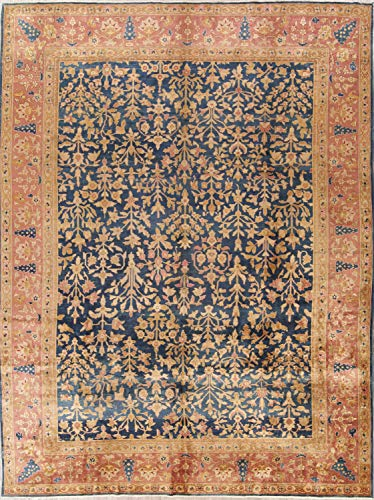 Hand Knotted Wool Pre-1900 Antique Reversible Sarouk Persian Antique Carpet Area Rug 9x12