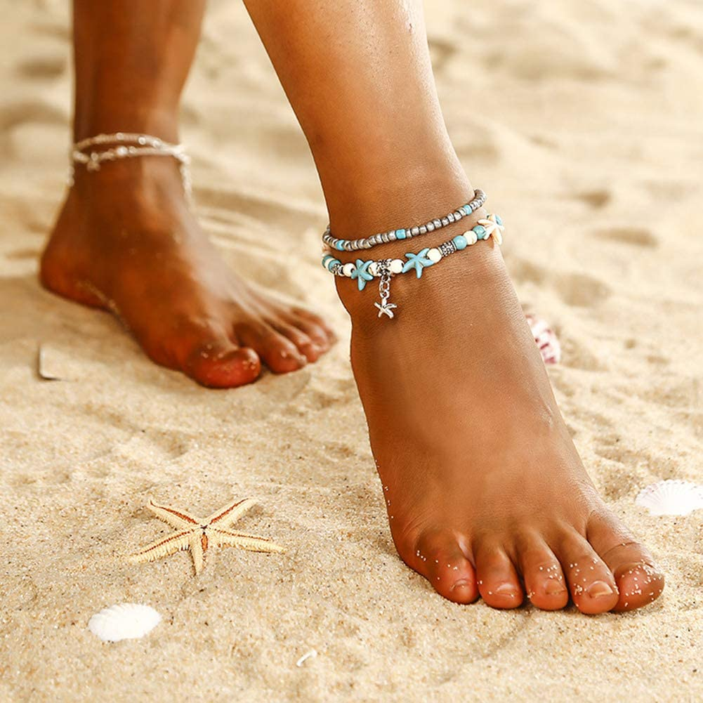 20726 Werrox Hot Boho Starfish Turquoise Beads Sea Turtle Anklet Beach Sandal Jewelry Gifts Model BRCLT