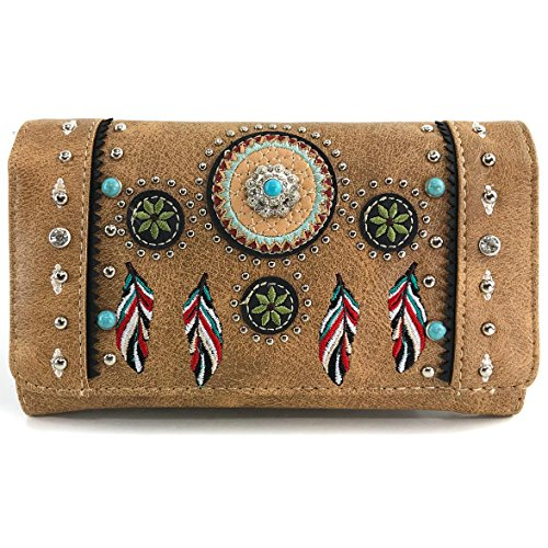 Western Wallets Womens - Justin West Tribal Dream Catcher Feather Embroidered Studded CCW Concealed Carry Shoulder Cross Body Handbag Wallet (Tan Wallet ONLY)