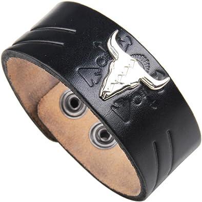 Vintage Mens Leather Bracelet Skull  Wide Hand Snap Cuff Bangle Gift Black Red