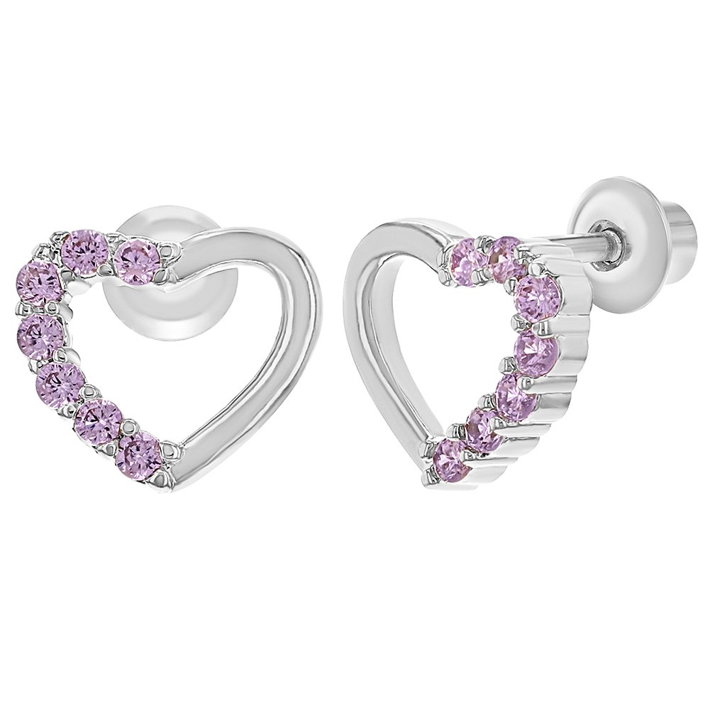 Rhodium Plated Pink Crystal Heart Screw Back Kids Baby Girl Earrings In Season Jewelry 03-1119