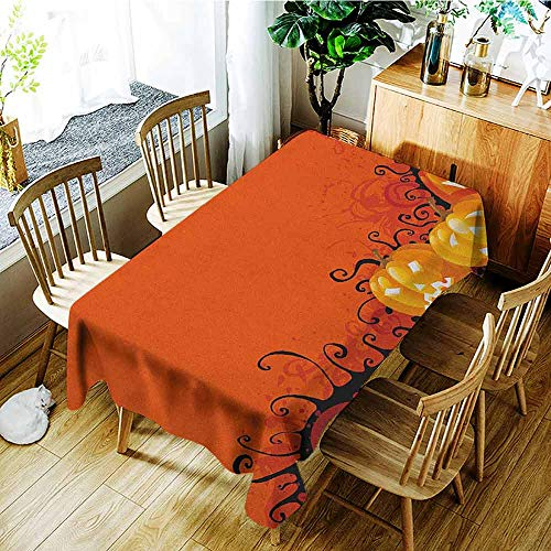 XXANS Rectangular Tablecloth,Spider Web,Three Halloween Pumpkins Abstract Black Web Pattern Trick or Treat,High-end Durable Creative Home,W60X90L Orange Marigold Black -