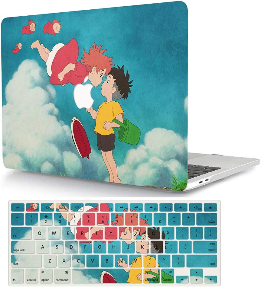 AJYX MacBook Pro 15 Inch Case 2015 2014 2013 2012 Release A1398, Plastic Hard Shell Case with Keyboard Cover Skin for Old Version Mac Book Pro Retina 15 - Ponyo & Sosuke