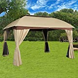 Cloud Mountain Garden Gazebo Polyester Fabric Patio Backyard Double Roof Vented Gazebo With Mosquito Netting, Sand