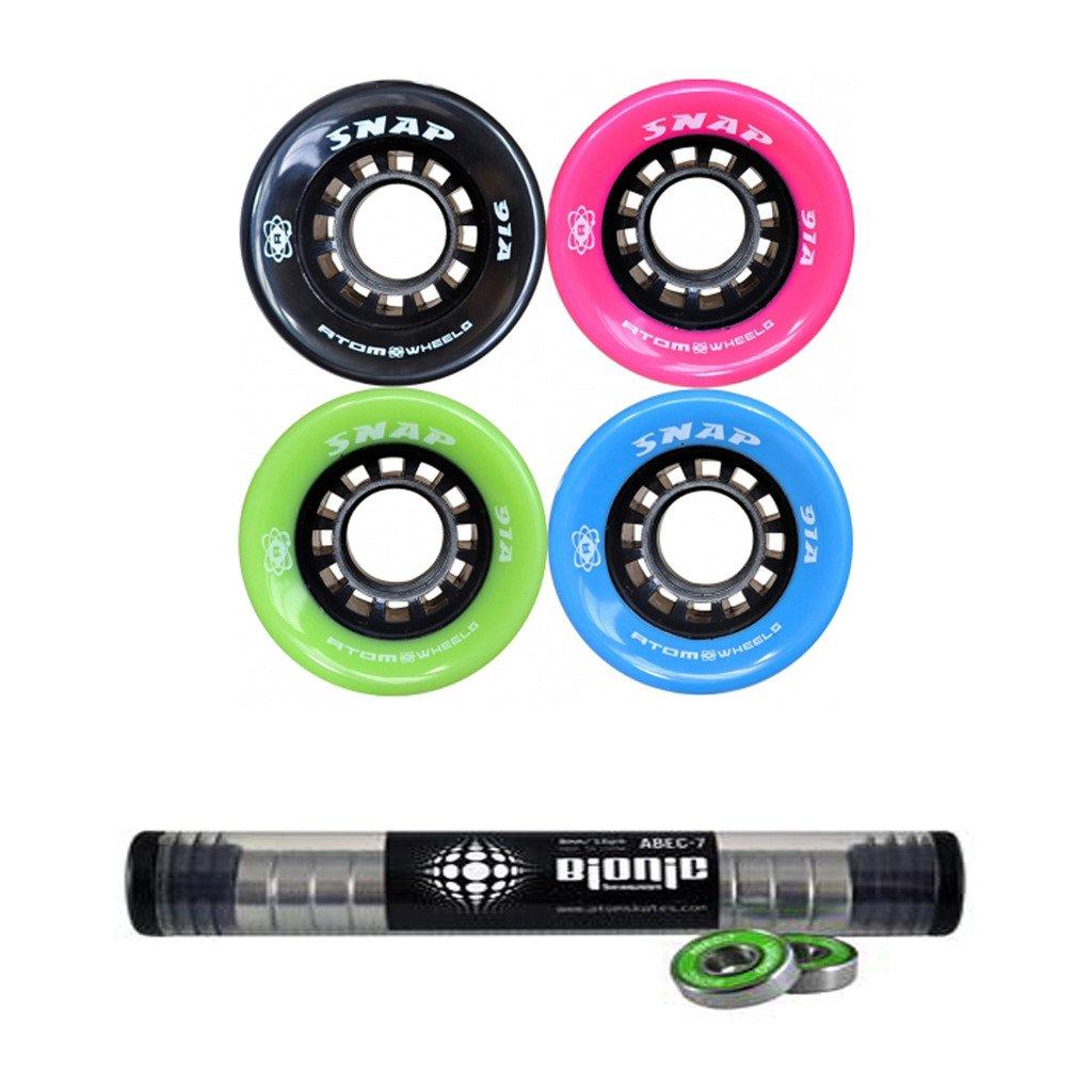 Atom Snap 屋内屋外用スケートホイール バイオニックベアリング付き 8mm 8個セット B06ZZM3D3Q ブラック ブラック
