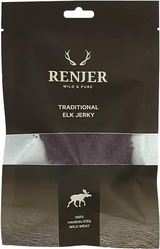 Renjer - Carne seca de Alce - snack tradicional proveniente de Suecia, saludable y natural, 77% proteína, sin azúcar, bajo en grasas, ideal para ...
