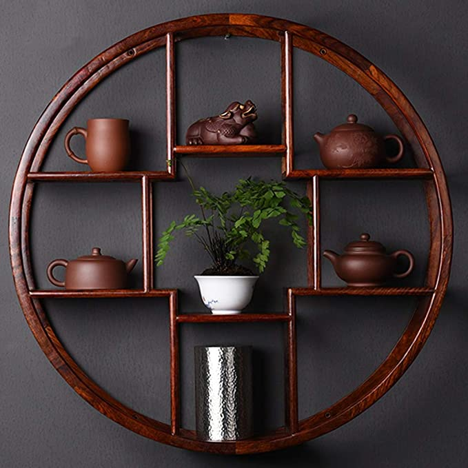 Amazon Shelf Standing Units Wall Round Solid Wood Display Stand Chinese Style Mount 6060cm 8080cm Retro Teapot
