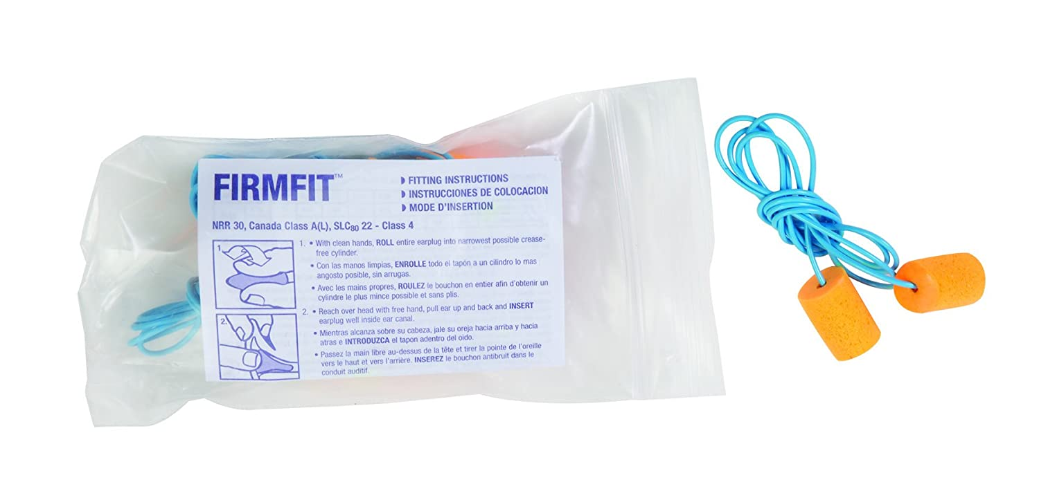 Howard Leight by Honeywell FirmFit Corded Disposable Foam Earplugs FF-30 Polybag 100-Pairs