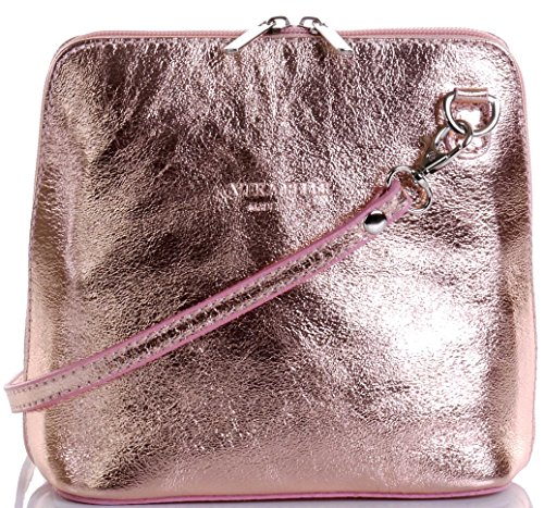 (Italian Leather, Rose Gold Small/Micro Cross Body Bag or Shoulder Bag Handbag. Includes Branded a Protective Storage Bag. )