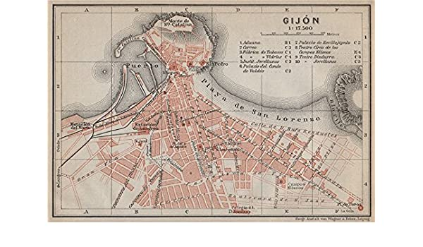 Gijon Spain Map.Amazon Com Gijon Gijon Antique Town City Ciudad Plan Spain Espana