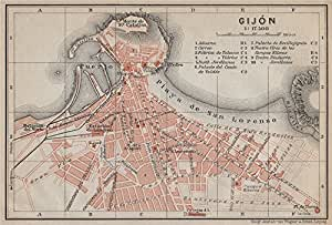 Antiqua Print Gallery Gijón gijã N Antiguo Town City Plan de Ciudad. España Espaã ± a Mapa. BAEDEKER, 1913: Amazon.es: Hogar