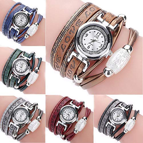 Weicam Women Nice Leather Band Bangle Dress Diamonds Watch Casual Double Wrap Around Beads Twine Quartz Wrist Watches for Ladies Teen Girls (Multicolor) (Womens Watch Bangle Diamond)